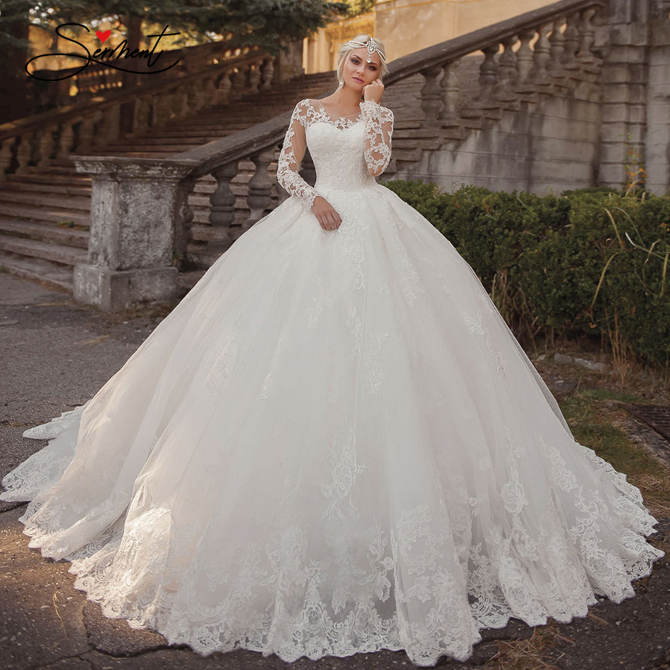 OLLYMURS 2020 Luxury Wedding Dress Long Sleeve V-neck Applique Lace Wedding Noble Applique Muslim Brides Support Tailor-made