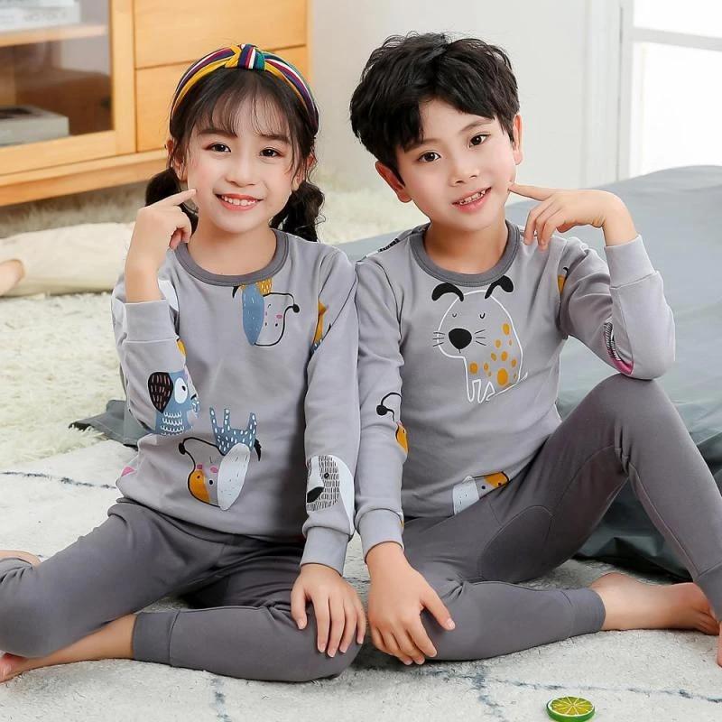 Pants Nightwear Outfit Set Kids Baby Cartoon Pajamas Boy Girl Long Sleeve Tops