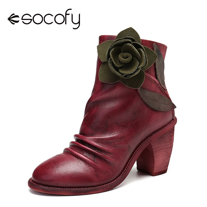 SOCOFY Handmade Boots Vintage Floral Stitching Zipper Leather Ankle Boots Fashion For Lady Retro Shoes Women 2020