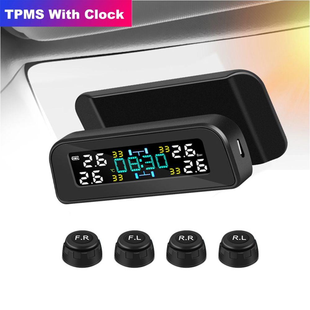 Солнечная энергия автомобиля TPMS система контроля давления в шинах Авто Охранная сигнализация системы цифровой ЖК-дисплей датчик давления ...
