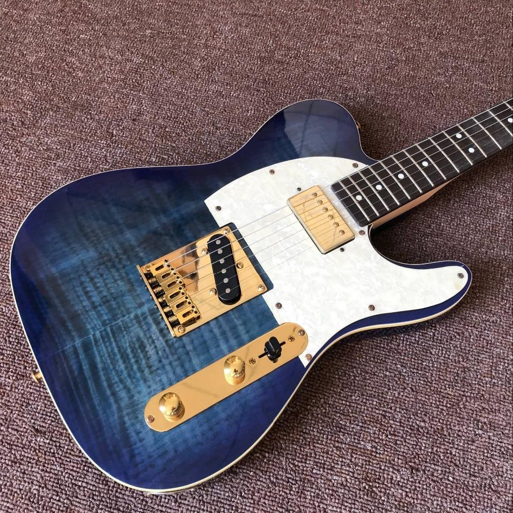 custom shop,Electric Guitar,Rosewood fingerboard handwork 6 stings gitaar.blue Tiger Flame guitarra
