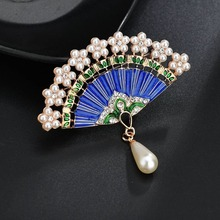 Pearl fan Brooches for women Pin Brooch enamel pin Fashion Jewelry Accessories cc brooch gifts for women hijab pins scarf buckle crystal enamel green gecko brooches lizard brooch pins animal corsage chameleon scarf buckle
