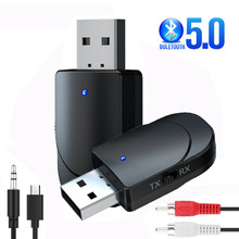 Bluetooth 5.0 Audio Receiver Transmitter 3.5mm Jack AUX USB Music Wireless Adapter & Mic Handsfree Call for Car TV PC Headphones