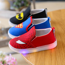 Shoes Canvas Loafers Led-Light-Up Casual Sneakers Girls Cartoon