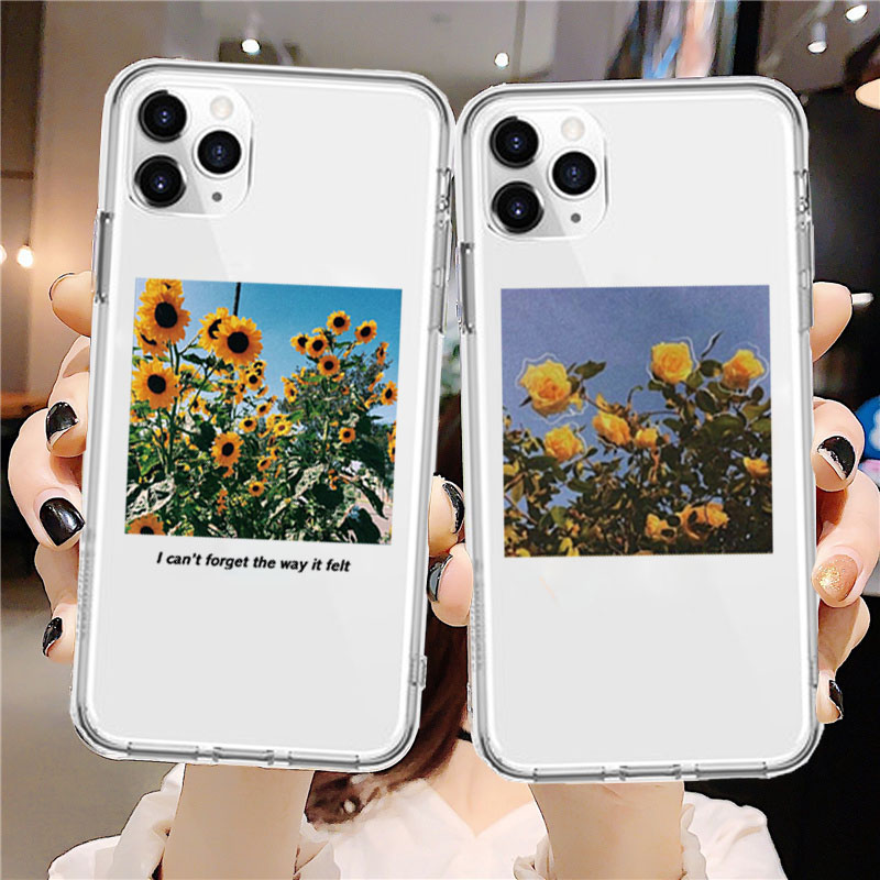 Flower Sunflower Rose Soft TPU Coque Phone Case For iPhone 11 Pro XS Max XR X 7 8 6 6S Plus SE 2020 Case Silicon Clear Cover