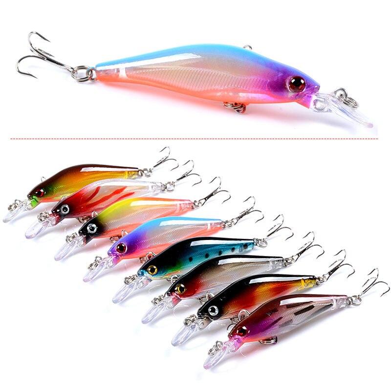 8pcs/lot Minnow Fishing Lure Wobblers 8.3cm 6.3g Slowly Sinking Artificial Hard Bait Crankbait Bass Pike Carp Fishing Tackle