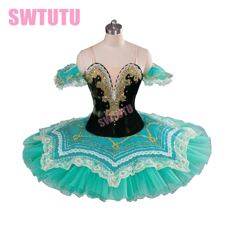 women green professional tutus, adult ballet tutu classical costumes for competitionBT9090