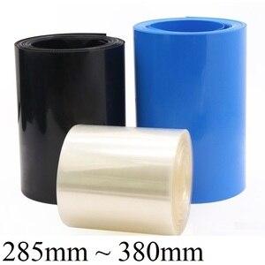 2M 18650 bateria lipo PVC rurka termokurczliwa opakowanie 285 ~ 380mm szerokość izolowane folie do pakowania litowa obudowa rękaw kablowy termokurczliwy niebieski czarny przezroczysty