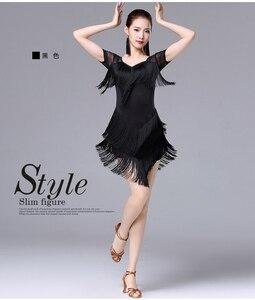 Image 2 - Женское платье с кисточками для латинских танцев, модное платье для латинских танцев для женщин, женское международное стандартное бальное платье для танцев ча Сальса