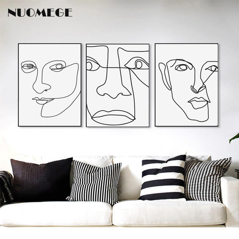 Abstract Line Portrait Canvas Painting Simple Wall Art For Living Room Decoration Picture Wall Canvas Postres Home Decor Painting Calligraphy Aliexpress
