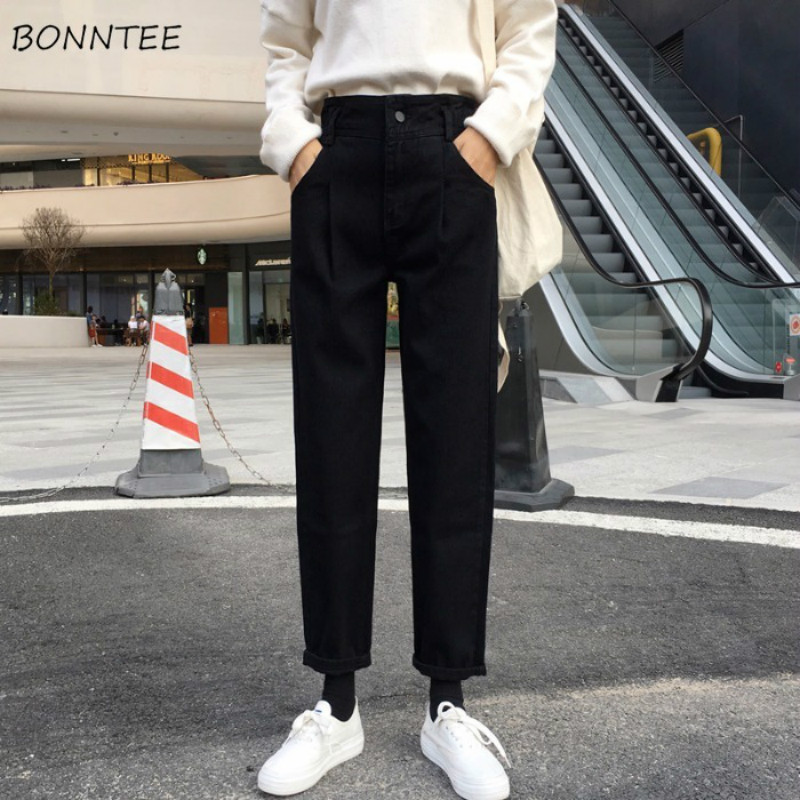 Jeans Women Solid High Waist Straight Korean Style All-match Students Harajuku Womens Trendy Loose Pockets Casual Long Trousers