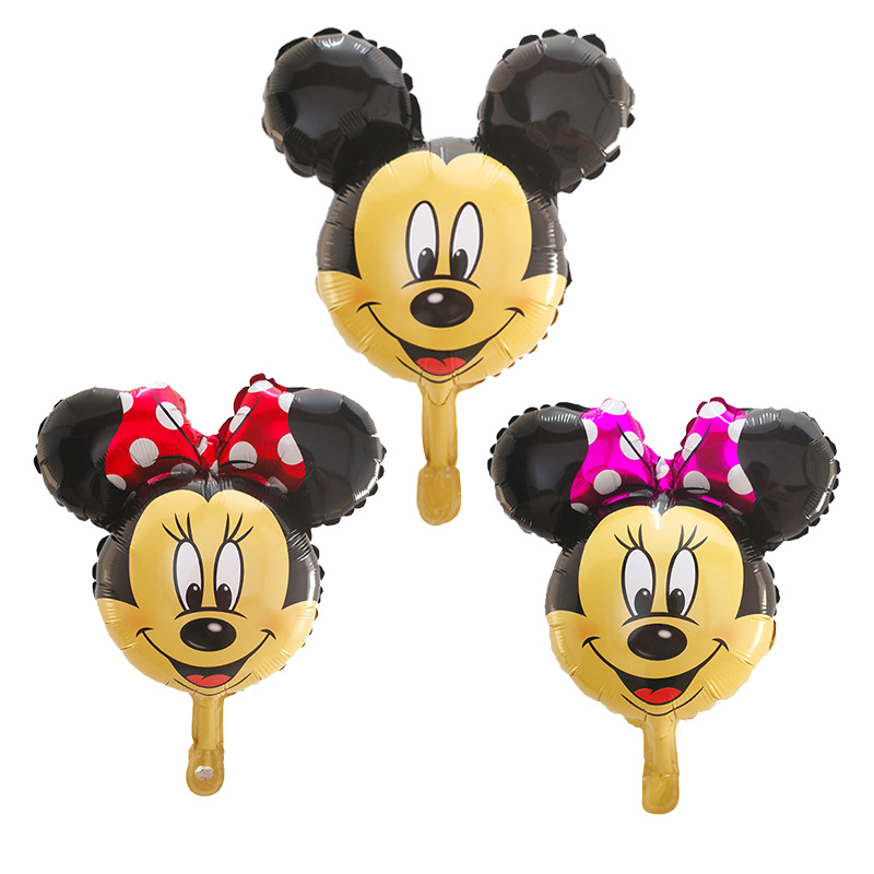 <font><b>100pcs</b></font> Mini Mickey Minnie Head <font><b>Foil</b></font> Balloons Baby Birthday Party Cartoon Minnie Mouse <font><b>Ballon</b></font> Air Inflatable Globos Decor Toys image