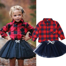2019 chic Toddler Infant Newborn Kids Baby Girl Clothes Long Sleeve Red Plaid Shirt Tulle Skirt Outfit Xmas 2Pcs Set Clothing стоимость
