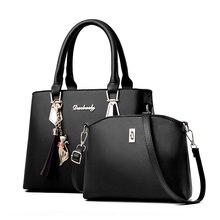 المرأة حقيبة كبيرة قدرة الإناث شرابة حقيبة يد حقيبة يد فاخرة منقوشة النساء حقائب مصمم 2019 مجموعة 2 قطعة أكياس