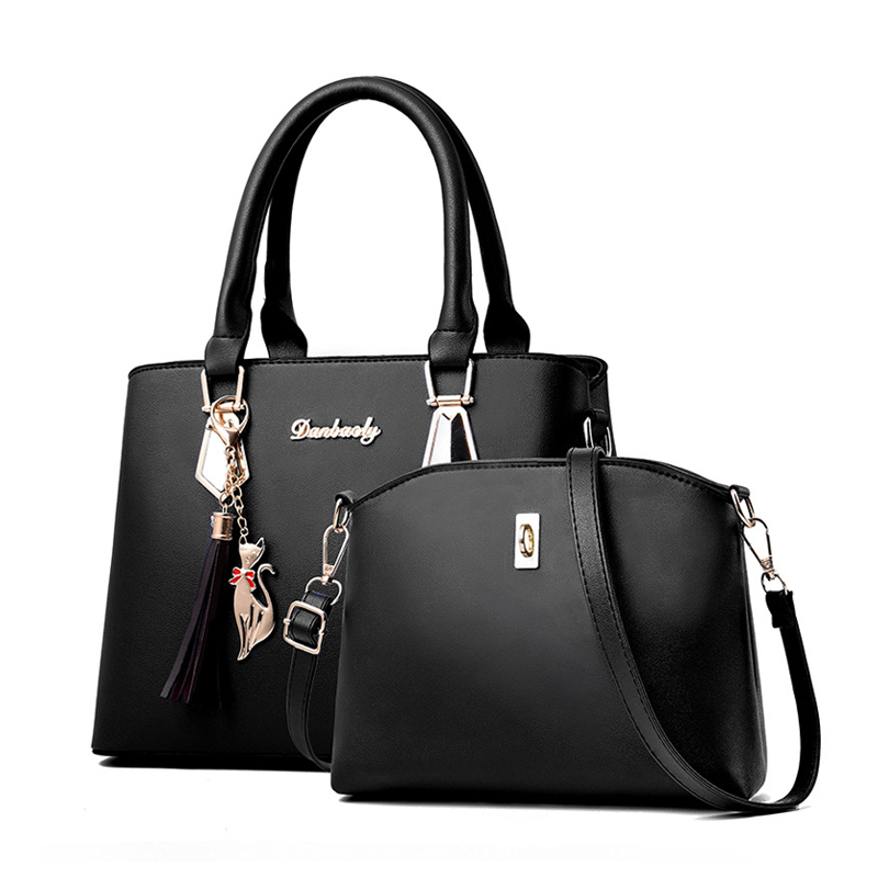 Women Bag Large Capacity Female Tassel Handbag Luxury Handbags plaid Women Bags Designer 2019 Set 2 Pieces Bags title=