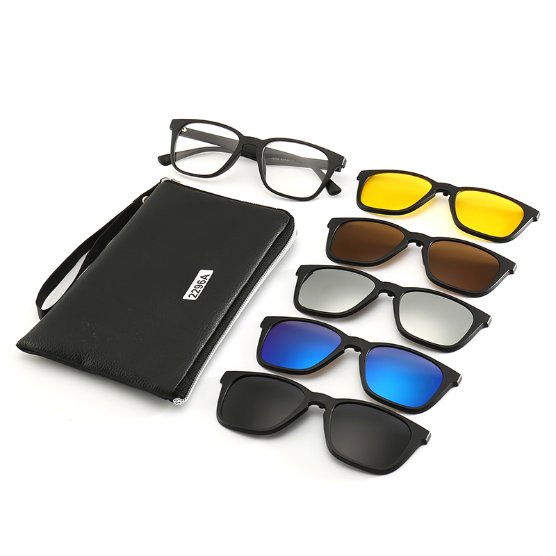 Retro Square <font><b>5</b></font> <font><b>in</b></font> <font><b>1</b></font> <font><b>Magnetic</b></font> Lens Swappable <font><b>Sunglasses</b></font> Polarized <font><b>Clip</b></font> <font><b>on</b></font> <font><b>Sunglasses</b></font> Eyeglass Frames image