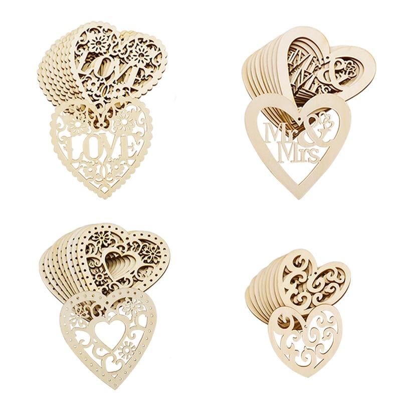 Wood Weddings Embellishment Laser Cut Love Heart Hanging Ornament Wooden Ring Box Mr Mrs Rustic Wedding Decoration