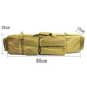 Image 5 - 100cm 군사 총 가방 배낭 더블 소총 가방 케이스 톱 M249 M4A1 M16 AR15 Airsoft 카빈 운반 가방 케이스 어깨 끈