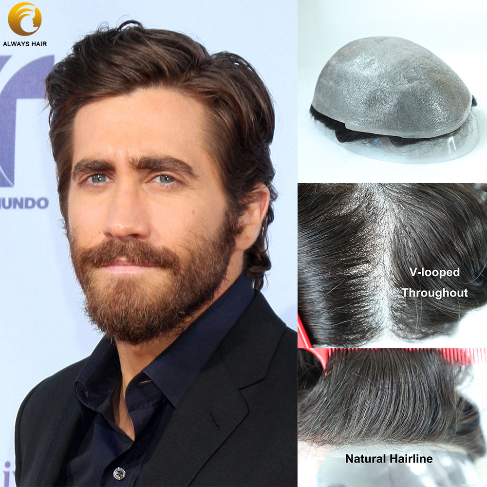 V-Loop Super Thin Skin Mens Toupee With Human Hair 0.04 - 0.05mm 6 Inch 1B 120 Density Indian Hair 30mm Wave Skin Wig