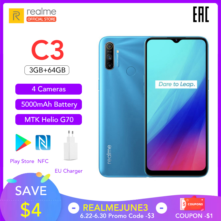 realme C3 5000mAh Battery Mobile Phone 3GB RAM 32GB 64GB ROM Helio G70 Processor 12MP AI Dual Camera HD Mini-drop Fullscreen NFC