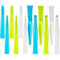 12 sztuk plastikowe sztywne skrobak uniwersalny skrobak otwieracz do butelek Gum skrobak maszyna do usuwania etykiet do kuchni Groove Corner Windo w Ściągaczki od Dom i ogród na
