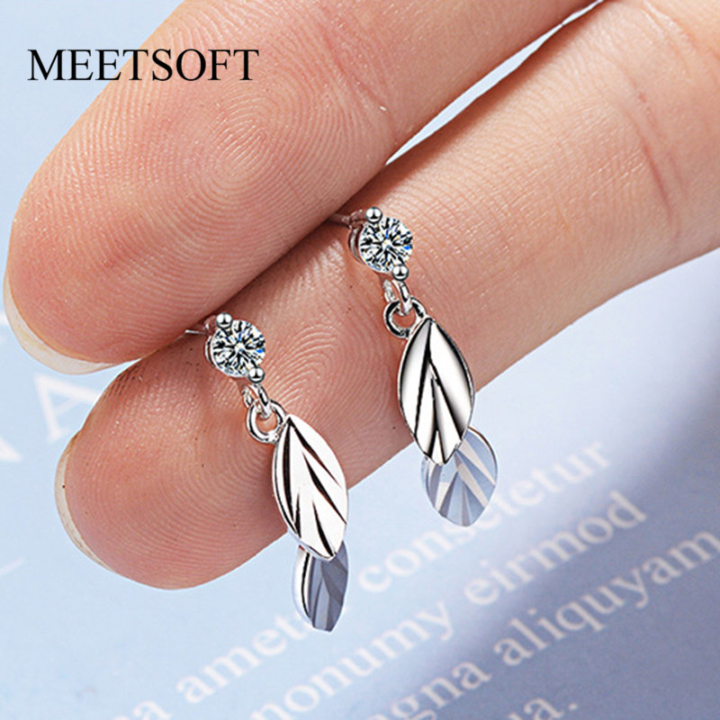 MEETSOFT 925 Silver Prevent Allergy Drop Earrings For Women Trendy Design Crystal Leaf  Jewelry Gift