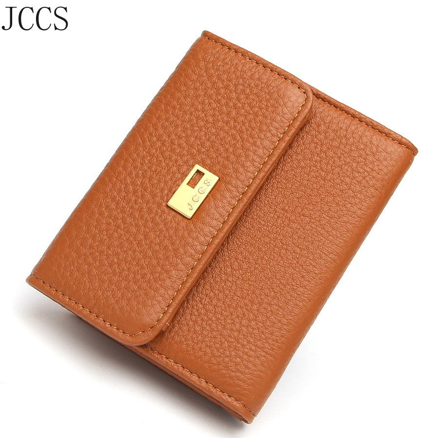 JCCS Designer Wallets Women's Folding Genuine Leather Wallet Ladies Lock Catch Short Purse Clutches Card Holder Purse