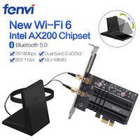 Double bande 2400Mbps sans fil PCI-E Wifi adaptateur pour ordinateur de bureau avec Intel Wi-Fi 6 AX200 Bluetooth 5.0 802.11ax/ac carte 2.4G/5G