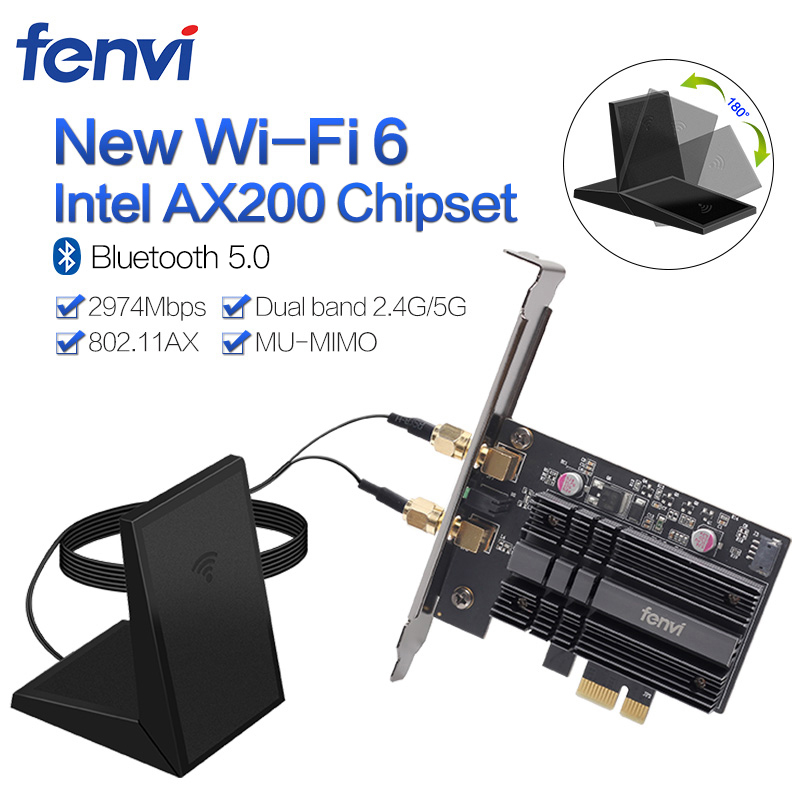 Dual Band 2400Mbps Wireless PCI-E Wifi Adapter For Desktop PC With Intel Wi-Fi 6 AX200 Bluetooth 5.0 <font><b>802.11ax</b></font>/ac 2.4G/5G Card image