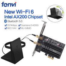 Dual Band 2400Mbps Wireless Pci-E Wifi Adapter Voor Desktop Pc Met Intel Wifi 6 AX200 Bluetooth 5.0 802. 11ax/Ac 2.4G/5G Card(China)