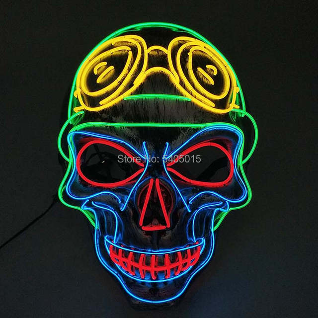Halloween Parties 2020 Dc 2020 New Style EL Mask Colorful Halloween Party Mask by DC 3V For