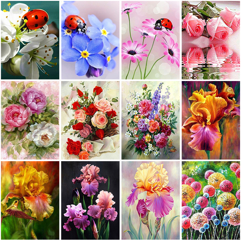 Flower DIY 5D Diamond Painting Full Round or Square Rhinestone Mosaic Diamante Embroidery Cross Stitch Wall Art Home Best Gift