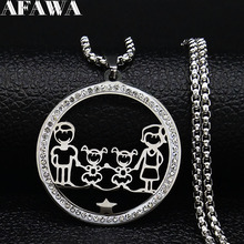 Family Dad Mum Two Daughter Crystal Stainless Steel Silver Color Women Necklace Jewelry acero inoxidable joyeria mujer N19437S01