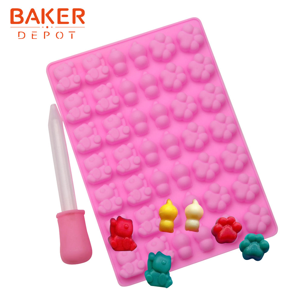 <font><b>BAKER</b></font> <font><b>DEPOT</b></font> cat Candy Gummy Mold Silicone mold for Chocolate Ice cube cat paw sugar candy Cake Decorating Tool with Dropper image
