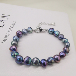 DMBFP156 натуральный пресноводный жемчуг браслет черный/белый/розовый/фиолетовый жемчужный браслет женский подарок