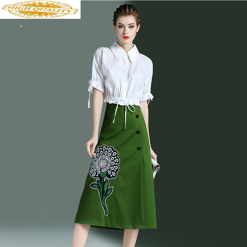 2020 Spring Autumn Women Elegant Ladies Formal Office Dress White Shirt Tops + Skirt Casual Two Piece Set Women Clothes ZT1979