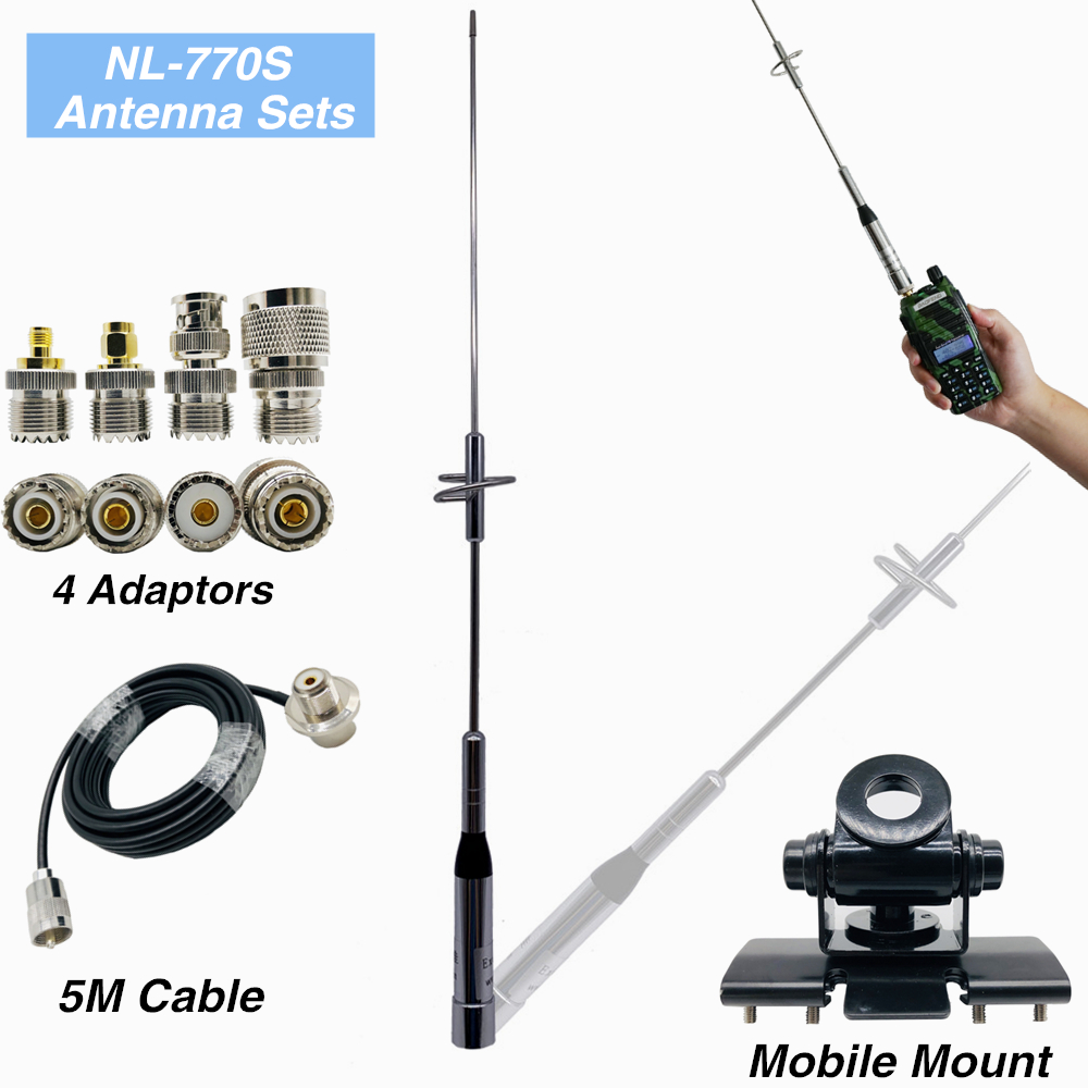 1 Set Nagoya NL-770S Walkie Talkie Antenna + 5M Coaxial Cable + Four Fine Copper Connector Adapter + Stainless Steel Clip Mount