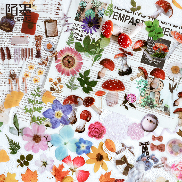 40 Pcs/pack Romantic Old Times Vintage Stickers Plants Flowers Flat Sticker Stationery