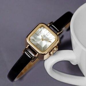 Image 3 - Dziewczyna unikalne kwadratowe małe zegarki damskie zegarki damskie cienki skórzany pasek zegarki kwarcowe różowe złoto kobiece moda zegarek Montre Femme