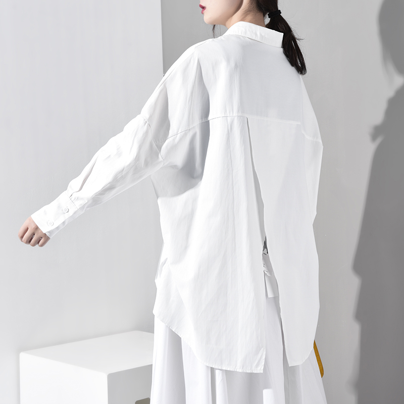 New Fashion Style White Loose Irregular Hem Over Size Shirt Fashion Nova Clothing