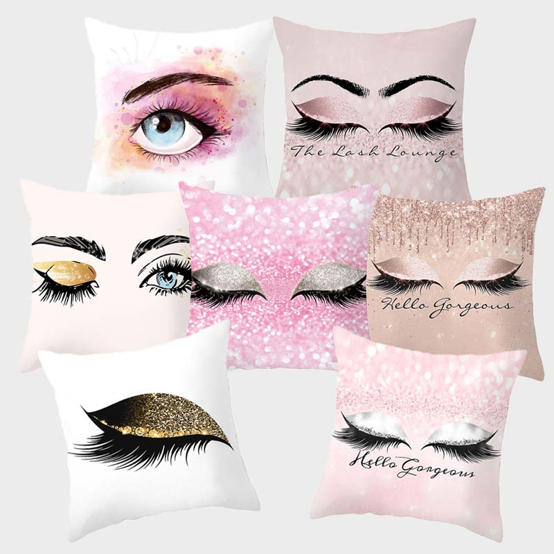 Cushion Cover 18X18inch Eye Lash Fashion Decorative Pillowcase Pillowcover 45x45cm Polyester Funda Cojin Sofa Home Decor 10057