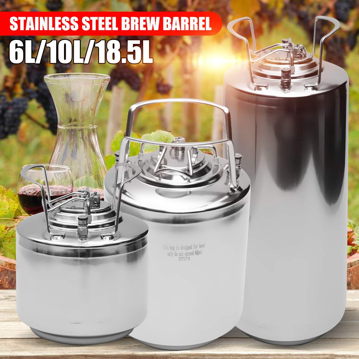 6/10/18.5L Stainless Steel Mini Beer Keg Pressurized Growler for Craft Beer Dispenser System Home Brew Beer Brewing Metal Handle image