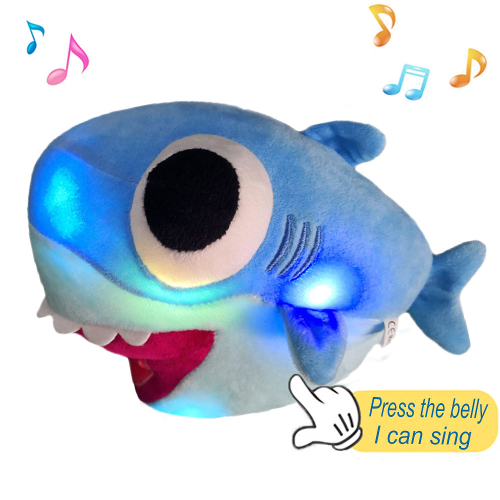 Baby Shark Shining Music Bigeye Shark Plush Doll Cute Baby Sharks Knowledge Objects Toy