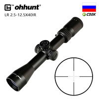 Tactical ohhunt LR 2.5 12.5X40 IR Hunting Scope Mil Dot Glass Etched Reticle Red Illumination Turrets Lock Reset Riflescope