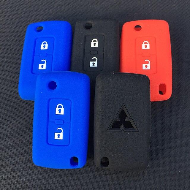 ZAD 2 pulsanti chiave Dellautomobile Del Silicone di Caso Della Copertura di Protezione per Mitsubishi Lancer 10 Outlander 3 Pajero sport auto chiave a distanza accessorio