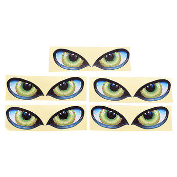 1 Pair Green Evil Window Mirror Decal Cool 3D Mysterious Cat Eyes Car Sticker image