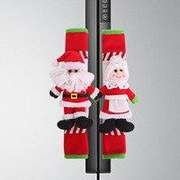 2 шт. универсальная домашняя дверная ручка моющаяся Защитная ручка холодильника крышка Санта Клауса Рождественская волшебная палочка духо...