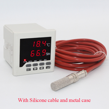 Digital temperature and humidity panel meter with silicone cable high temperature sensor thermostat and Hygrometer