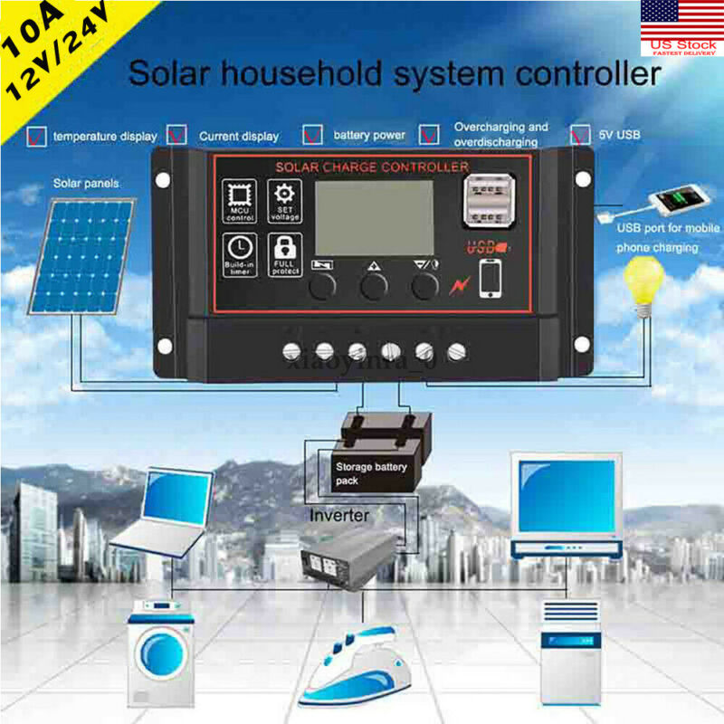 10A LCD PWM Solar Panel Regulator Charge Controller 12V/24V Auto Focus Tracking
