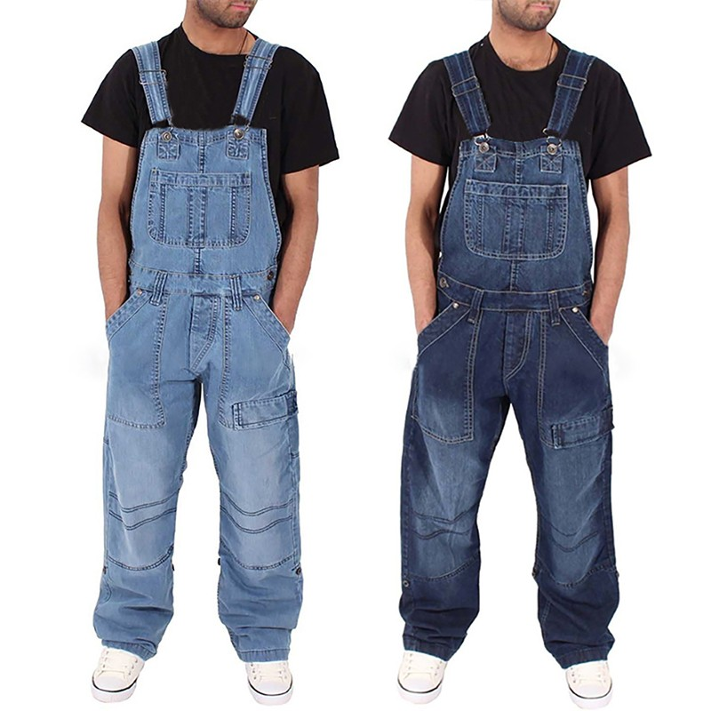 1 PC Mens New Fashion Jeans Wash Overalls Jumpsuit Streetwear Pocket  Pants Overalls Trousers H0918